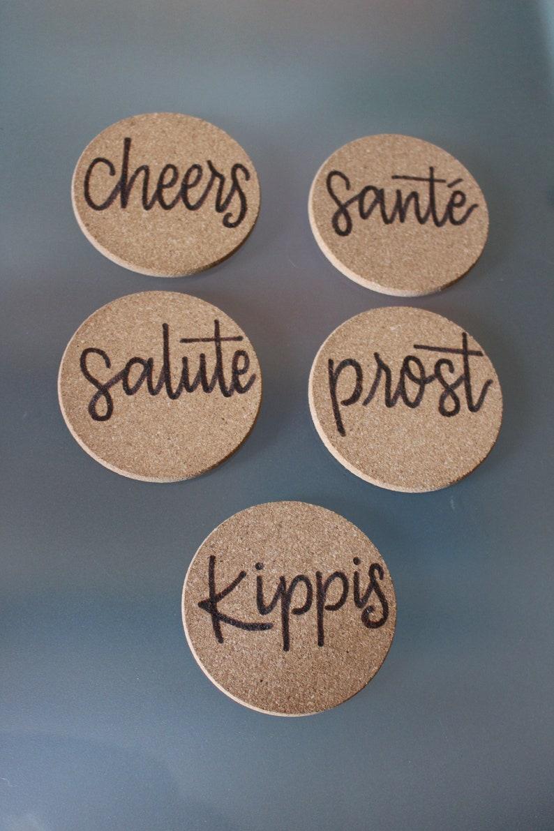 Multi Language Cheers Coaster Set Etsy