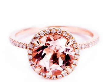 Round Morganite Engagement Ring Rose Gold Morganite Ring Diamond Halo Ring Pink Morganite Ring Diamond Engagement Ring,1.5ct - Morg1021