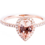 Pear Cut, Champagne Morganite, Rose Gold, Diamond Halo Ring