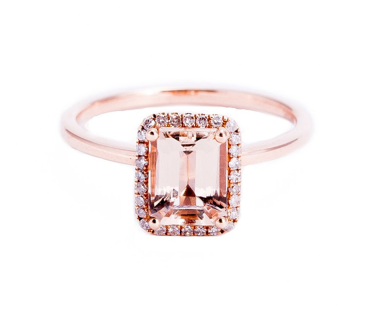 Emerald Cut Pink Morganite Rose Gold Ring image 0