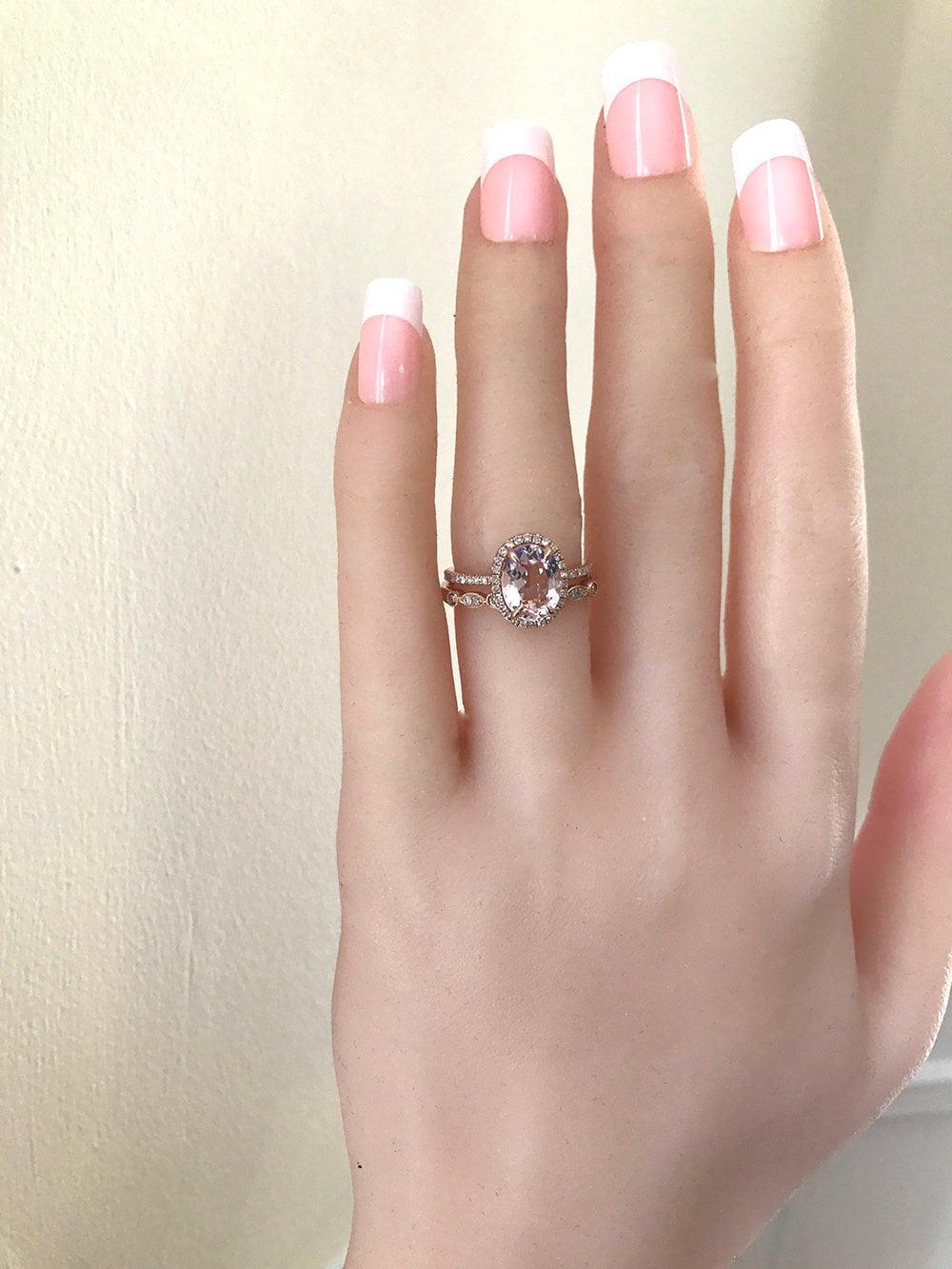 1.5ct Oval Morganite Engagement Ring Wedding Set Morganite