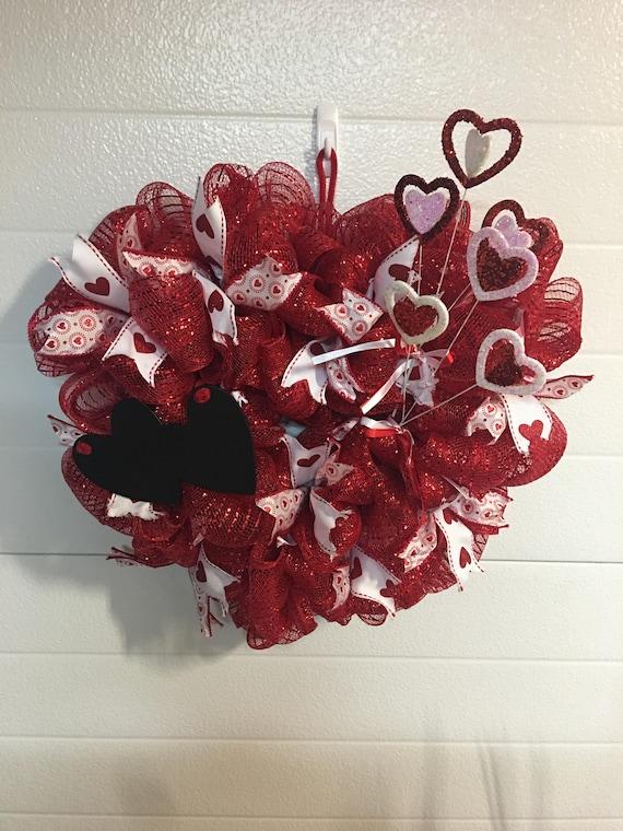 Valentine S Day Deco Mesh Wreath Etsy