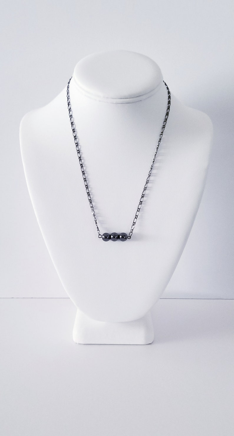 Hematite Gemstone Bar Necklace