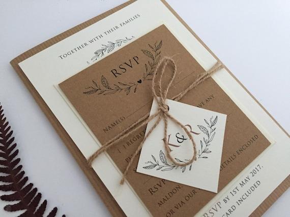 Rustic Vintage Handmade Personalised Calligraphy Brown Kraft Wedding Invitation