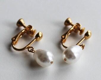 Freshwater White Teardrop Pearl Earrings