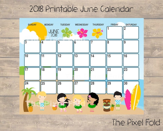 sale printable june 2018 calendar cute planner luau