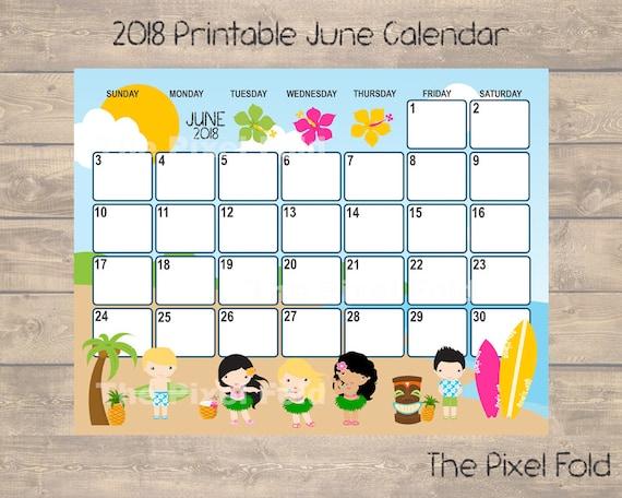 sale printable june 2018 calendar cute planner luau