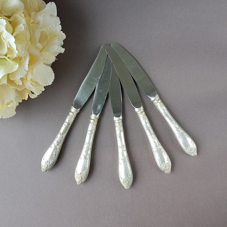 Flatware Kitchen Decor Tableware USSR German silver Dinner Knives Vintage Soviet Melchior Table Knives set of 5 Collectibles Cutlery