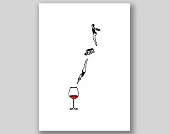 Wine Dive Print