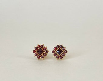 Petite Bohemian Garnet Vermeil Post Earrings