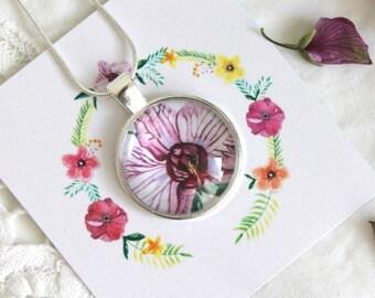 Floral pendant, pendant-cabochon, round pendant, hand made flower, pendant, art jewelry, gioiellarte, flowers pendant, floral necklace
