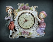 Vintage Figural Mantle Clock With Boy and Girl in Period Costumes - Clock Needs Repair