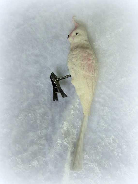 Early 1900s German Figural Mouth Blown Bird With Spun Glass Tail Antique Cockatoo Clip On Glass Christmas Ornament