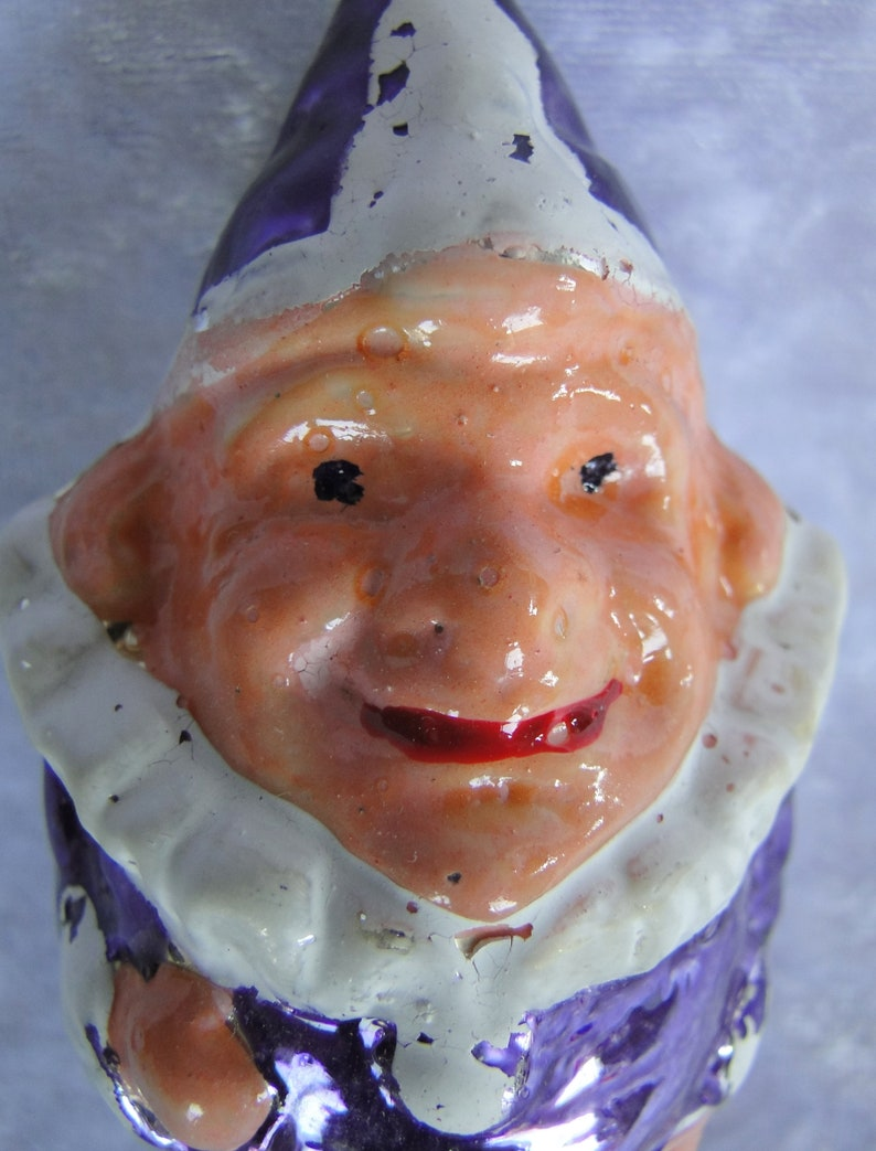 Purple Costume with White Collar and Buttons Antique Blown Glass Clown Christmas Ornament