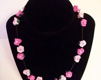Pink Rose Trio Necklace