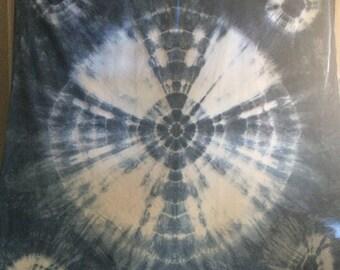 Indigo hand dyed full/queen duvet cover