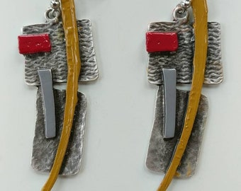 Geometric Yellow/Grey/Red Dagger Earrings