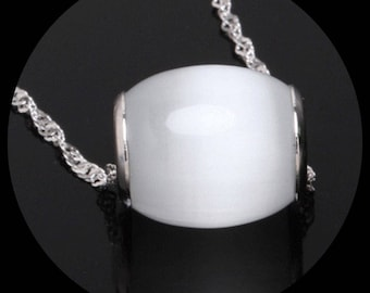 Silver Sterling 925 filled chain necklace delicate pearl charm pendant argent 925 perle argent rempli