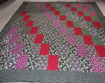 Vintage Patchwork Quilt TOP 93''L x 72''W Ready To Be Finished