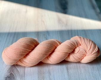 Neon Melon- Hand dyed sock yarn 85/15 merino/nylon blend