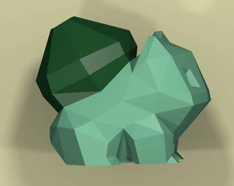 Papercraft Bulbasaur Low Poly Pokemon Model