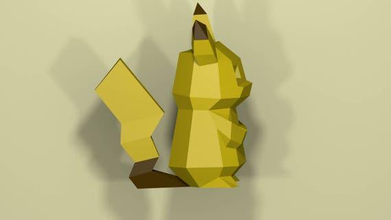 Papercraft Pikachu Low Poly Pokemon Model