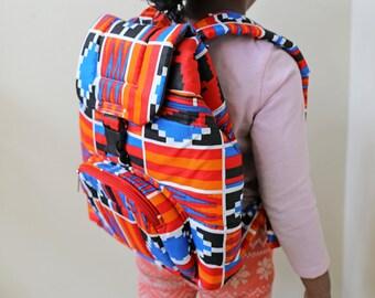 Ankara Backpack, African Backpack, Kente Backpack, Backpack, Patchwork Backpack, African bag,  Hand Sewn, African print bag, Ankara fashion