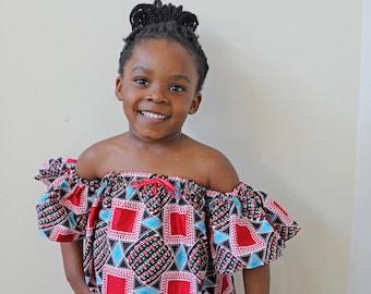 Girls Ankara Top, Off Shoulder Top, Kids Ankara Off Shoulder Top, African Kids Outfit, African Clothes, Ankara Fashion, African Style