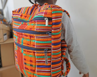 African Print Bag, Kente Backpack, Ankara Backpack, African Backpack, Backpack, Patchwork Backpack, African Bag,  Hand Sewn, Ankara Fashion