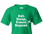 Eat Sleep Travel Repeat Kids Shirt