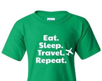 Eat Sleep Travel Repeat Kids Shirt