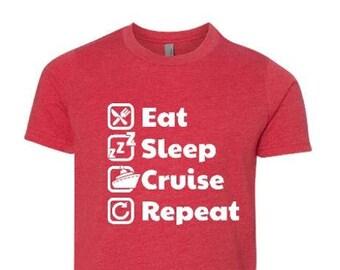 Eat Sleep Cruise Repeat Kids Shirt