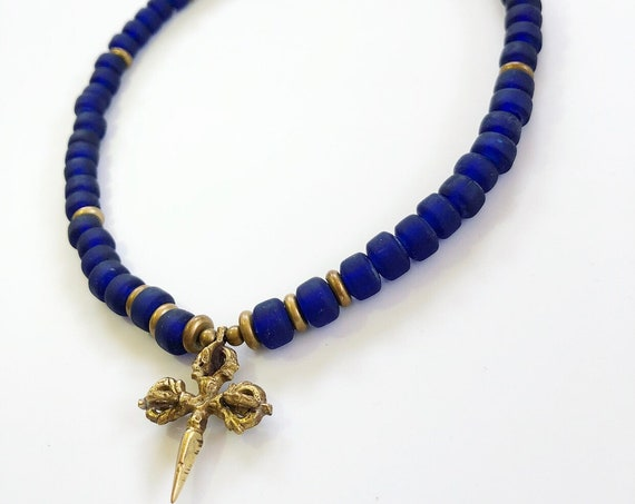 Queen Mother Jewelry - Sankofa Blue - Ghanaian Recycled Glass Choker w/ Tibetan Phurbu and Dorje