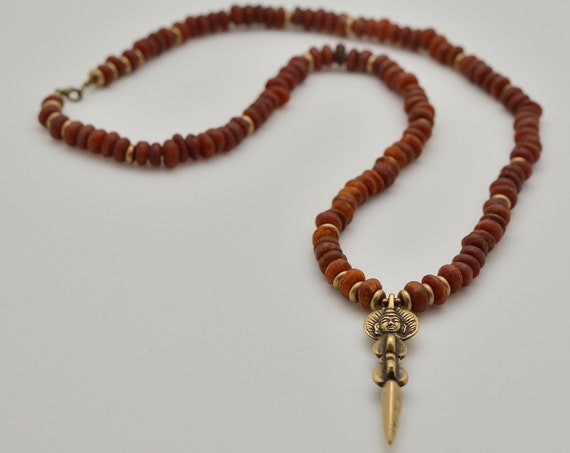 Queen Mother Jewelry - Kenyan Seed Modern Meditation Mala with Tibetan Phurbu