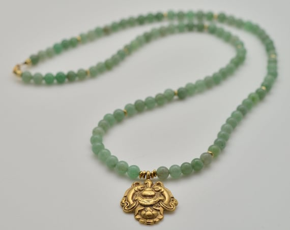 "Queen Mother Jewelry - Green Aventurine ""Stone of Opportunity"" Meditation Mala with /Shenn - Nya"
