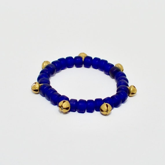 Queen Mother Jewelry - Sankofa Bell Bracelet - Ghanaian Recycled Glass Bracelet with Brass Bells