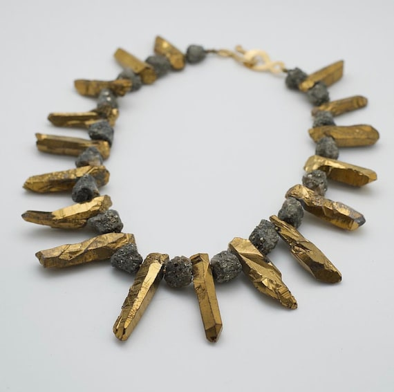 "Queen Mother Jewelry - ""Be"" Golden Quartz and Pyrite Necklace"