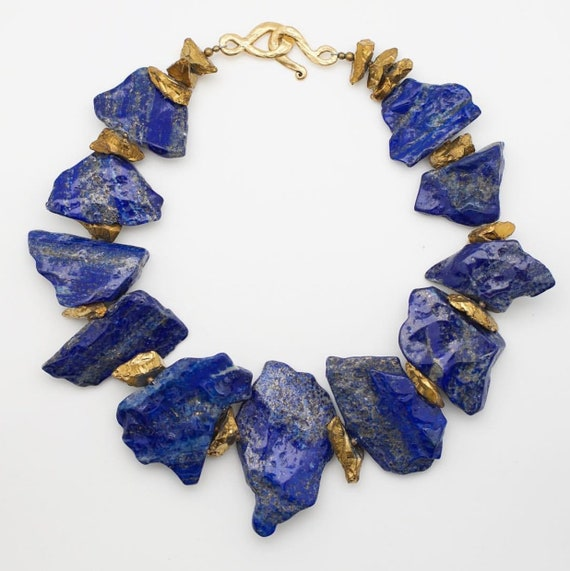 Queen Mother Jewelry - Royal Lapis Lazuli and Gold Quartz Necklace