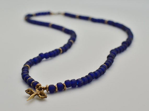 Queen Mother Jewelry - Sankofa Blue - Ghanaian Recycled Glass Mala with Tibetan Phurbu and Dorje