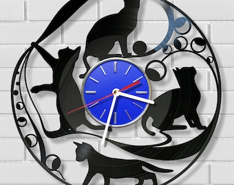 CATS wall clock made out of vintage vinyl record