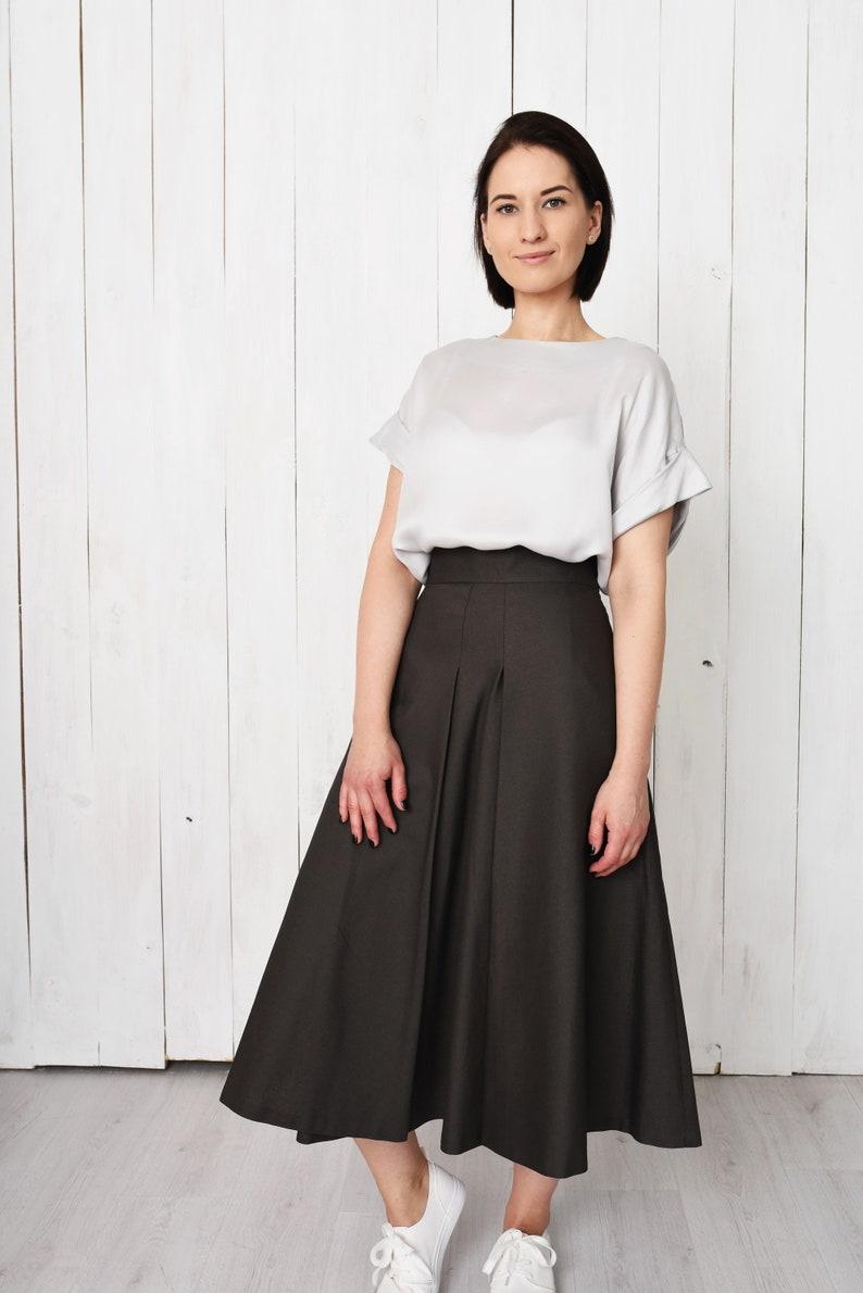 8ec5ba0285 Green pleated skirt with pockets elegant high waist a-line   Etsy