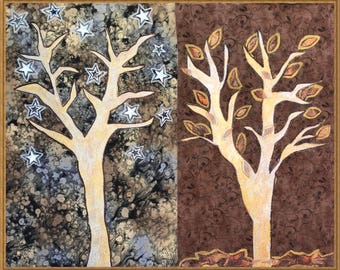Fragile Trees on Brown and Gray Background