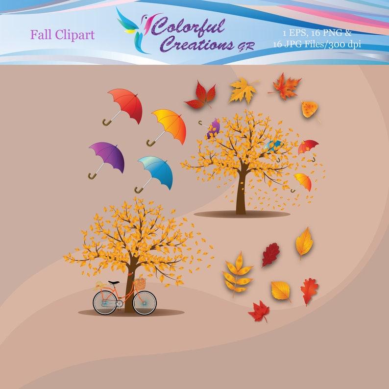 SALE Scrapbook Fall Trees Personal /& Commercial Use Fall Leaves Autumn Digital Clipart Fall Digital Clipart Umbrella Clipart