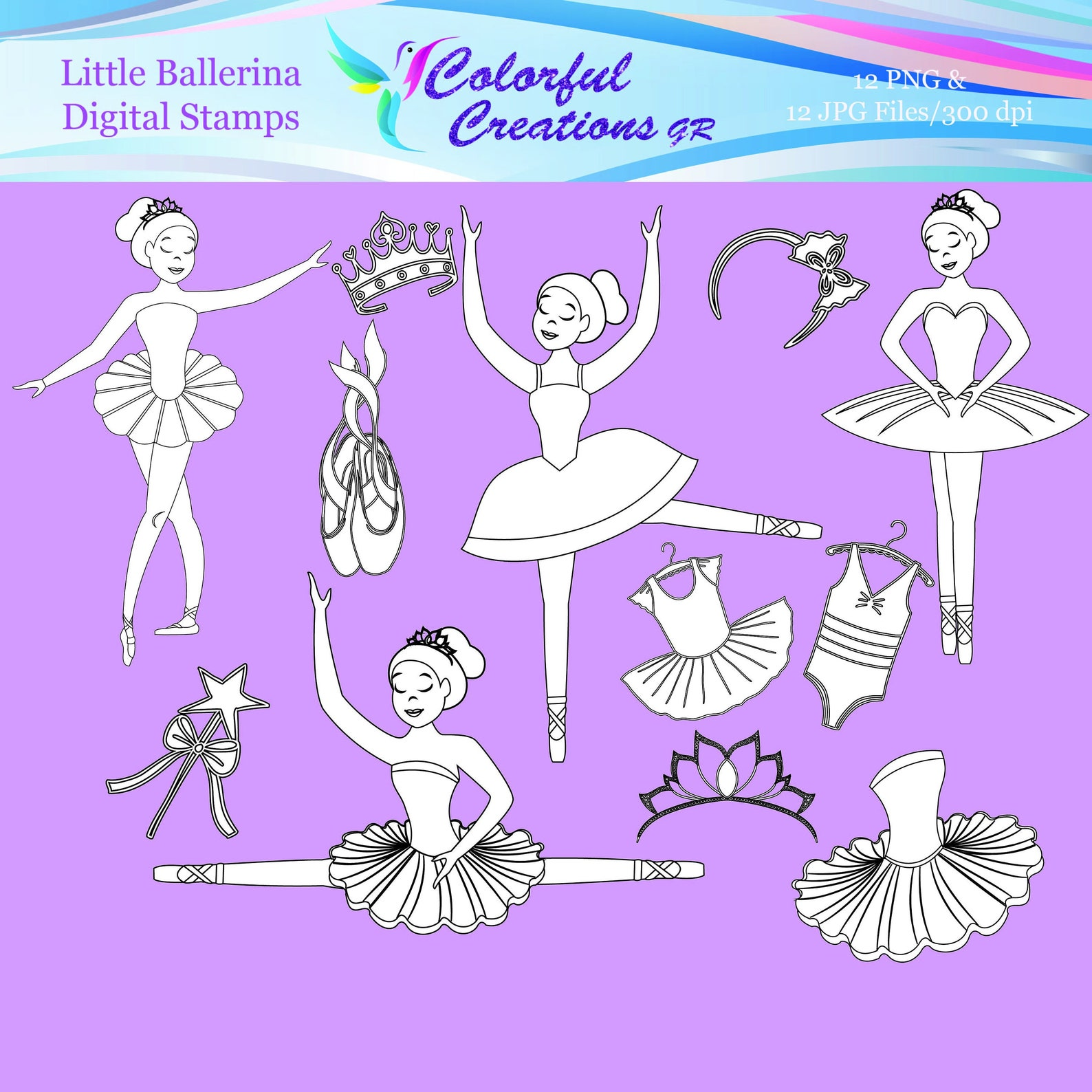 20 % off sale digital stamps, ballerina digital stamps, little ballerina stamps, ballet digital stamps, ballet, personal & comme