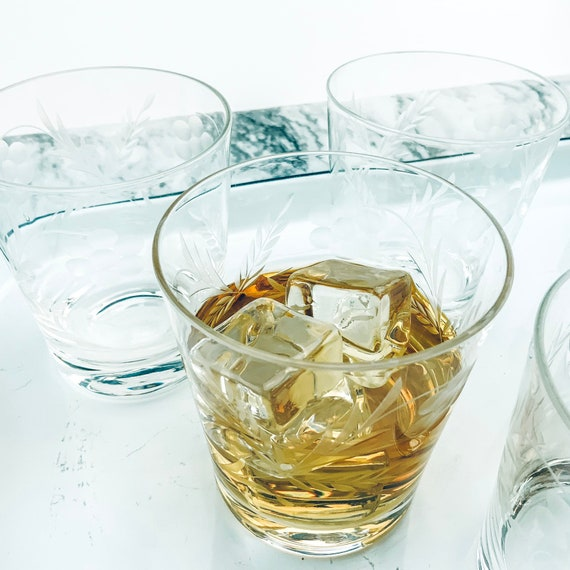 Large Gold Leaf Modern Whiskey Glass Drinks Tumbler Vintage Whisky