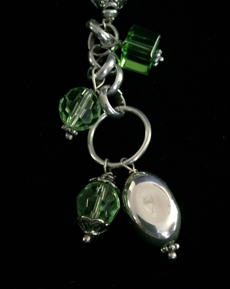 Vintage necklace light green suede drop pendant sterling silver beads and chain green glass beads