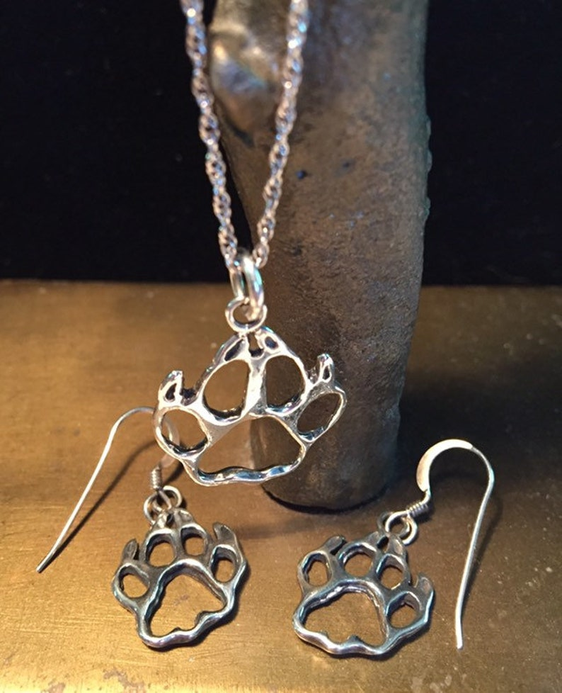 Vintage sterling silver bear claw matching set pendant necklace and earrings