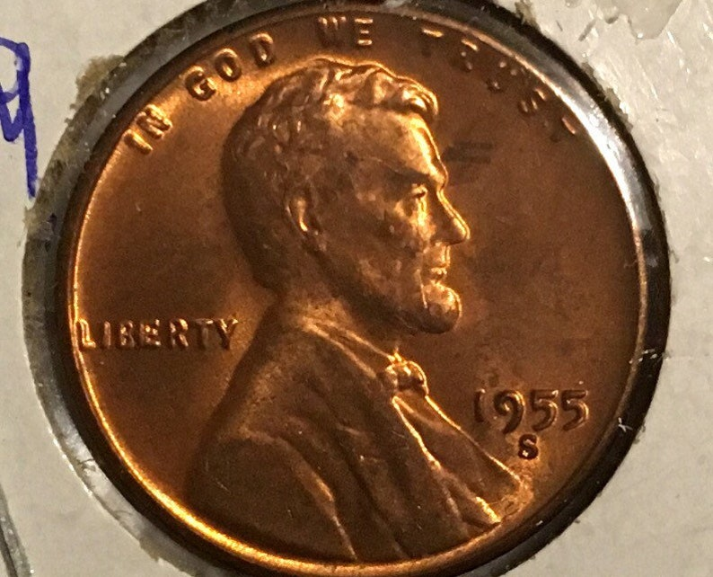 1955 S ERROR Lincoln Wheatback Penny