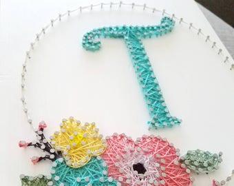 Monogram Floral Wreath String Art. Monogram String Art. Floral String Art.