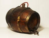 Old barrel Italina/small vintage wooden barrel with rims and iron faucet/cork cap